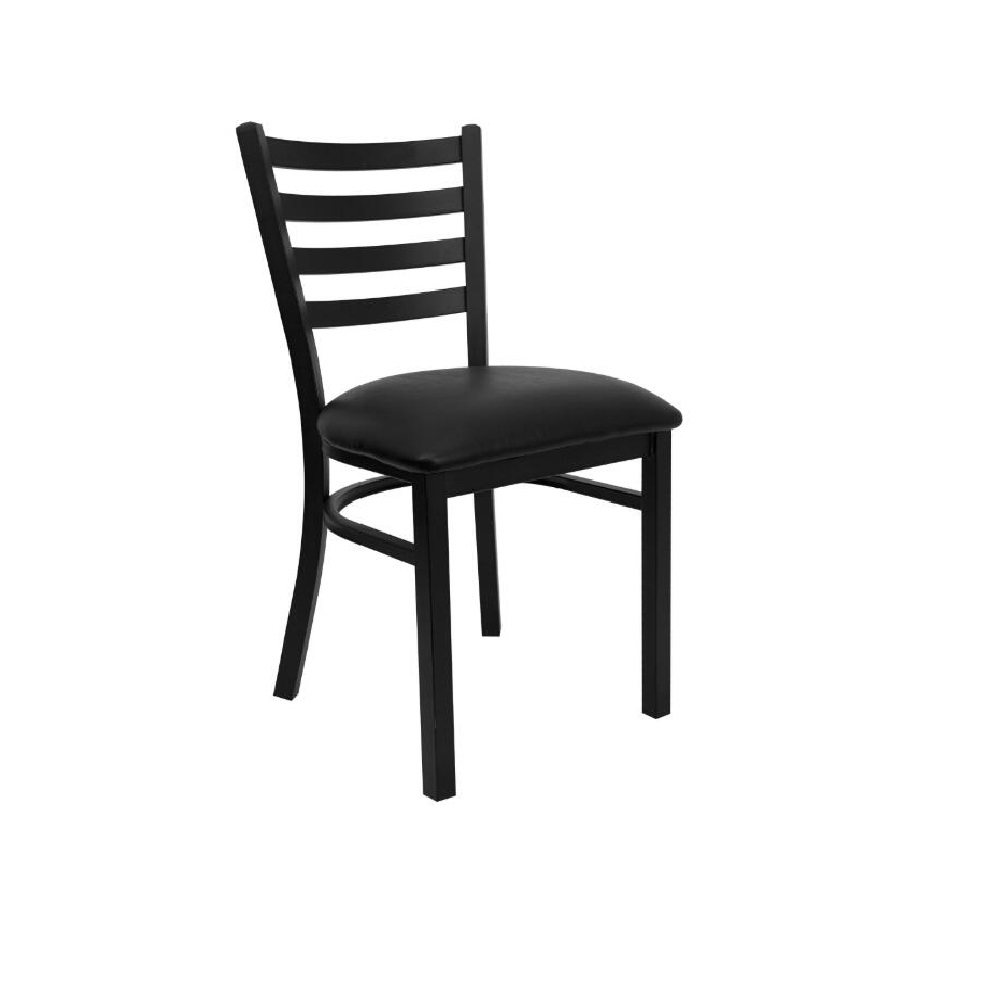 RESTAURANT CHAIRS BLACK METAL FRAME WITH BLACK SEAT PAD 0049