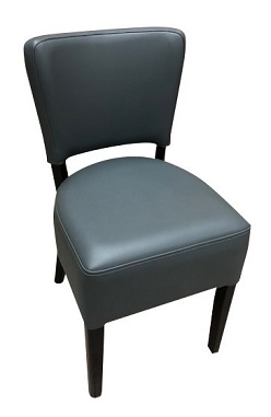 1970 SIDE CHAIR SOLID HARDWOOD FRAME RESTAURANT CHAIRS GREY