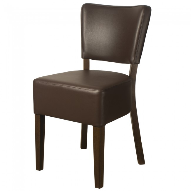 RESTAURANT LEATHER DINING CHAIR BROWN 1970