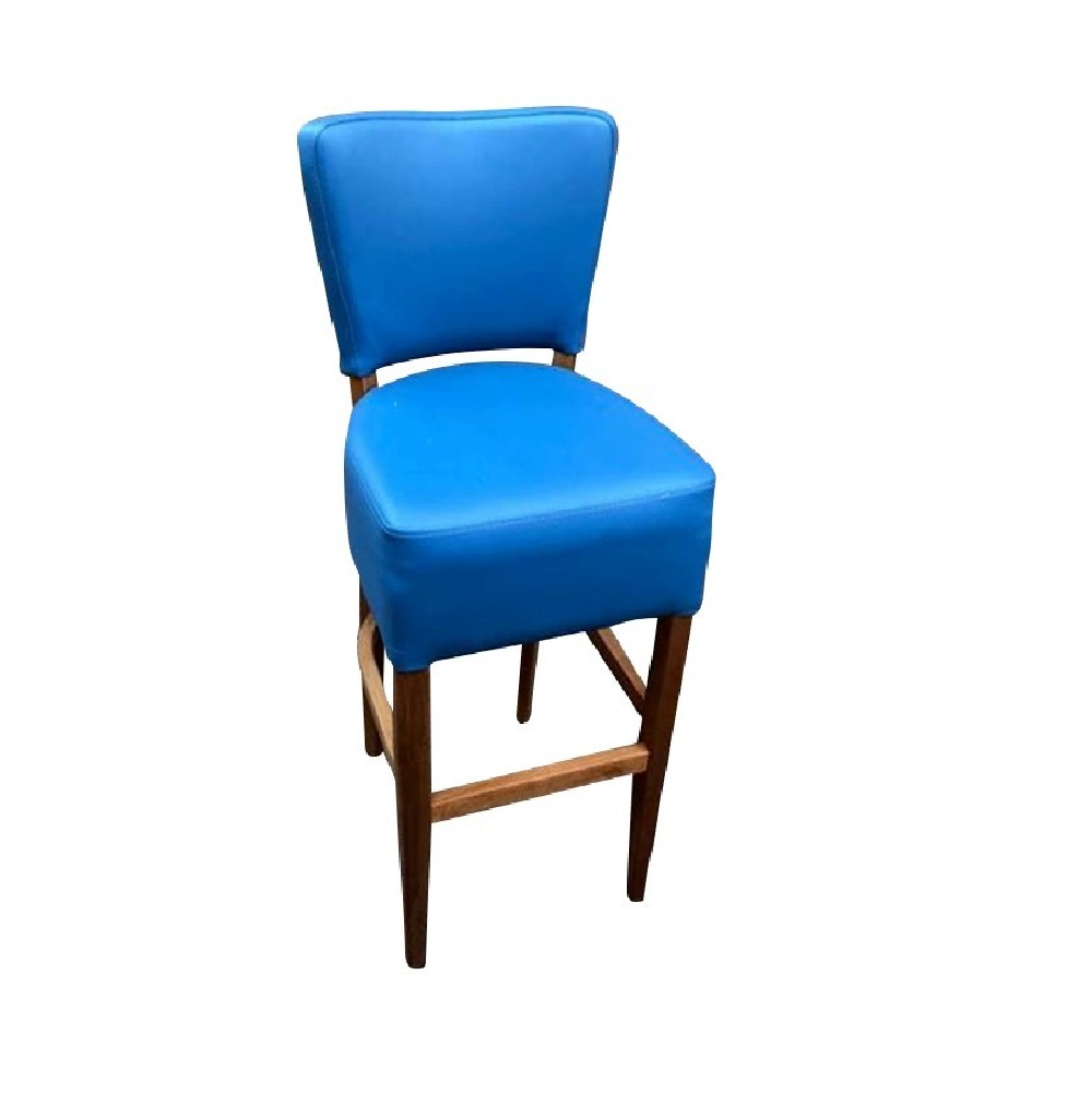 LEATHER RESTAURANT BAR STOOL MARINE BLUE 1971