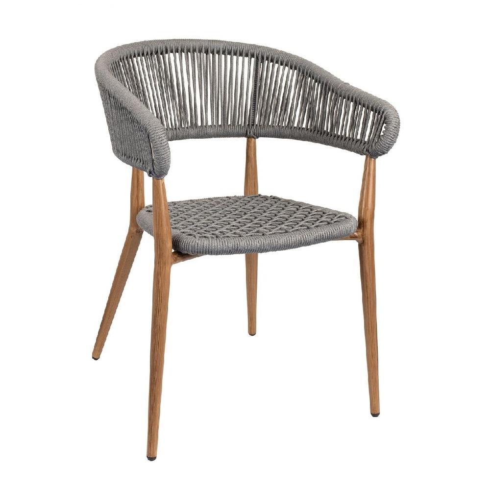OUTDOOR FURNITURE ALUMINIUM ARMCHAIR WITH ROPE EFFECT MODEL 2136