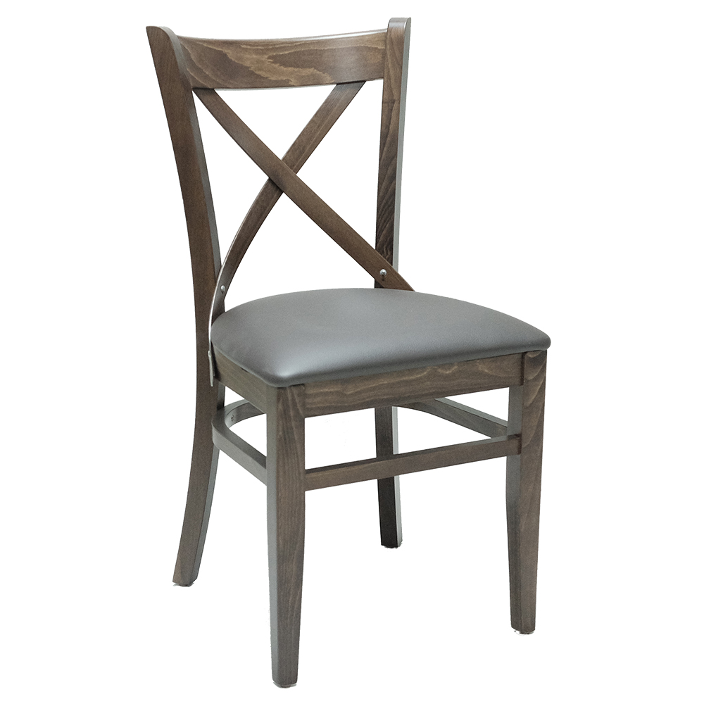 RESTAURANT CHAIRS CROSSBACK WITH BROWN SEAT CUSHION 2137