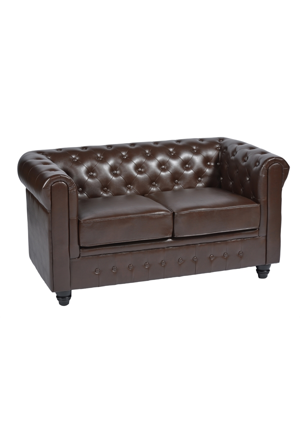 SOFA 46 CHESTERFIELD TWO SEATER DARK BROWN